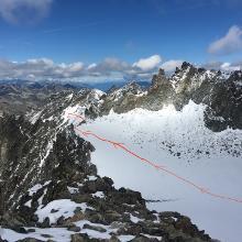 Weg zur Rinne Richtung Jamtalferner, von der hinteren Jamspitze aus gesehen