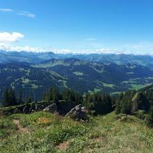 Weiter Ausblick in die Alpen, absolut zu empfehlen