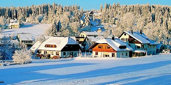 Blick auf das winterliche Dorf