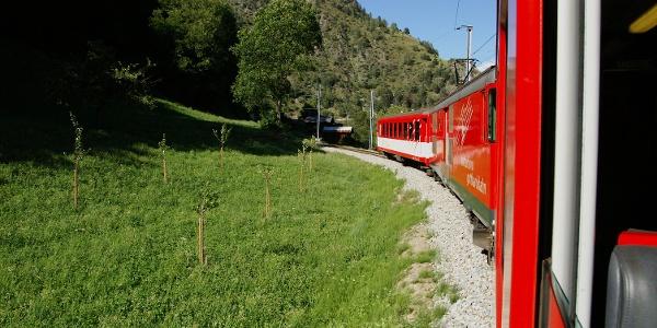 Anreise mit der Matterhorn-Gotthard-Bahn.
