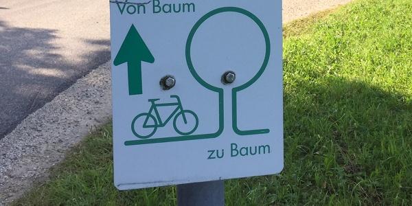 Radwegbeschilderung Von Baum zu Baum