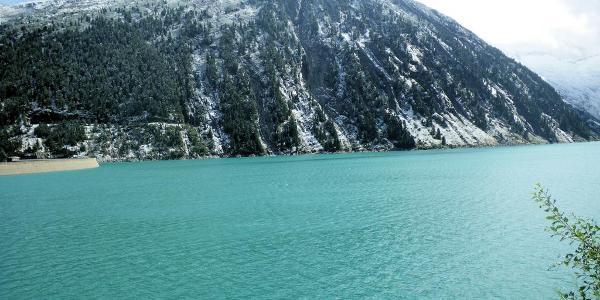 ... die Alpenüberquerung: Schlegeisstausee - St. Jakob - Blau-Grün der Schlegeissee
