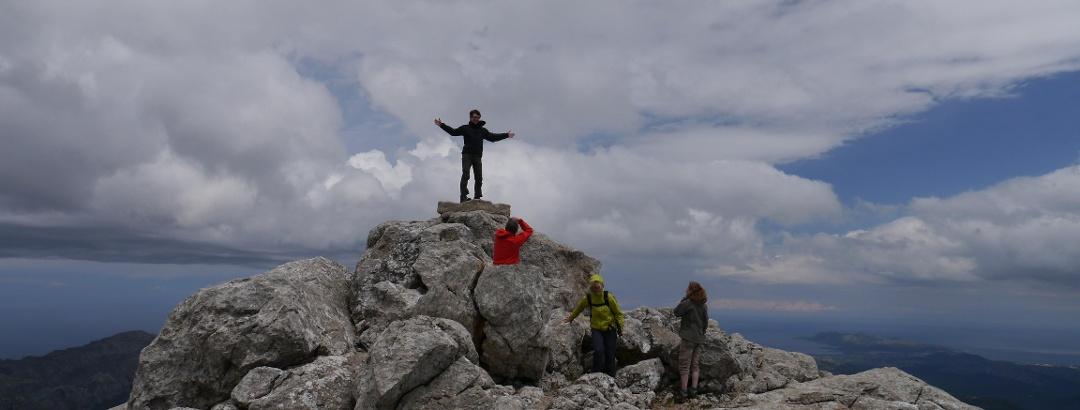 At the peak of Puig de Massanella