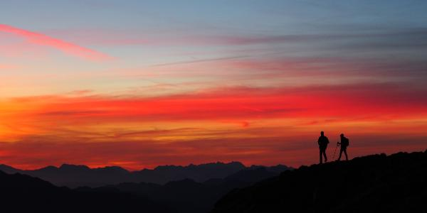 Sonnenaufgang am Gipfel des Scharnik