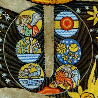 """""""Die Werke der Schöpfung"""", Bildausschnitt Liber Scivias II.2"""