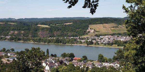 Blick auf Bad Breisig, Rhein und Schloss Arenfels