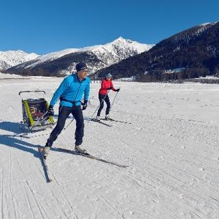 Ski de fond sur la piste ensoleillée entre Obergesteln et Ulrichen