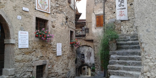 The little piazza in the village of Canale