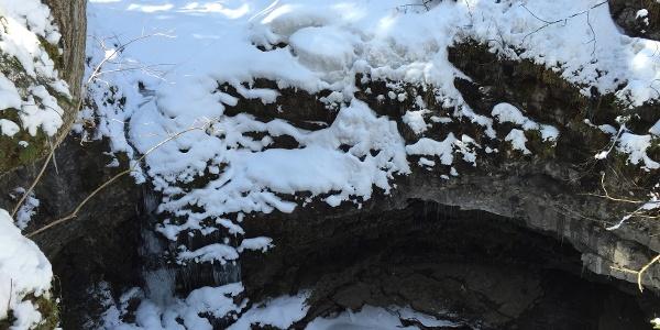 Verschneite Naturbrücke im Winter