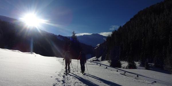 Kurz vor der Frader Alm öffnet sich das Tal