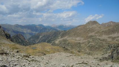 Colle Saboulé (2520m), view on Rocca Meja (2831m) and Monviso (3841m)