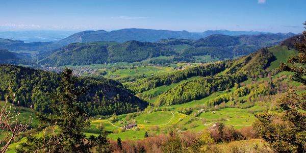 Blick vom Chellenchöpfli in Richtung Mümliswil.