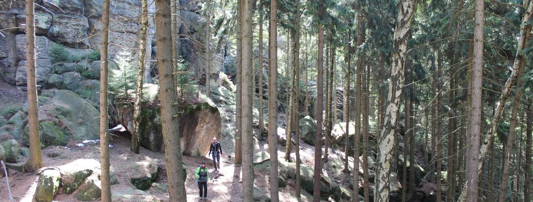 Der Pfad um die Felsen der Gratzer Höhle