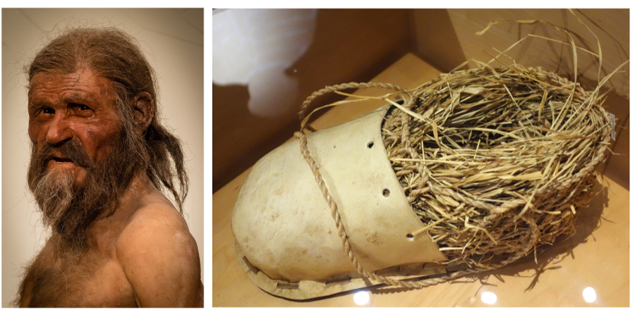 Left: naturalistic reconstruction of Ötzi; Right: replication of his shoes