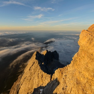 Blick von der Zugspitze über den Riffelgrat