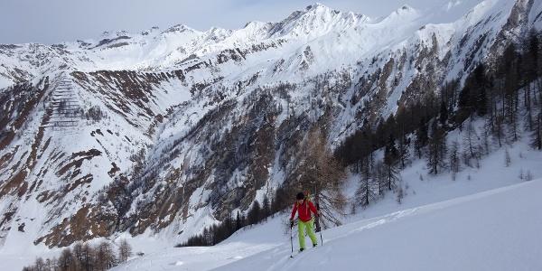 Auf ca. 2000 m Seehöhe, mäßig steiles Gelände, perfekt für Aufstieg und Abfahrt. Hinten Mitte die Gamskarspitz (2750 m), die kleine Pyramide rechts davon: Fischers Napf (2493 m).