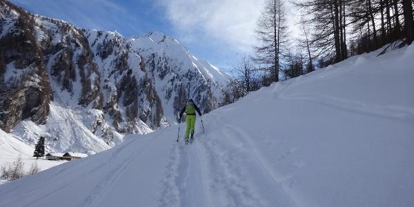 Am Beginn des Aufstiegs, hinten die Hornspitze (2650 m).
