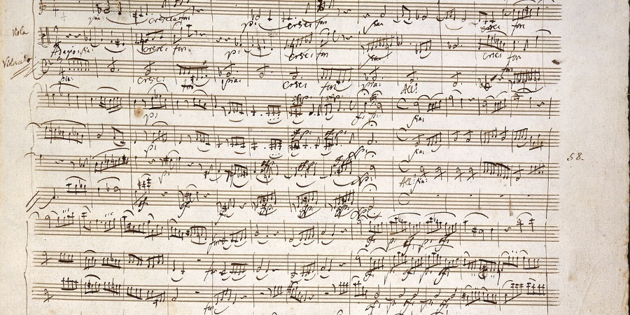 Handgeschriebene Komposition Wolfgang Amadeus Mozarts