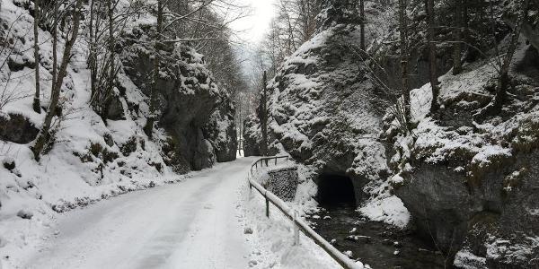Blick zurück von der Einfahrt in den letzten Talabschnitt bei Hinternasswald