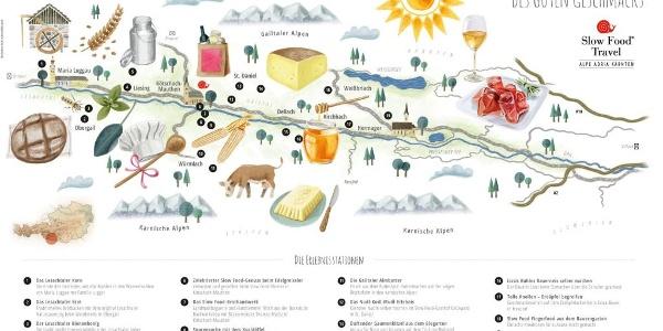 Übersichtskarte Slow Food Travel Alpe Adria Kärnten