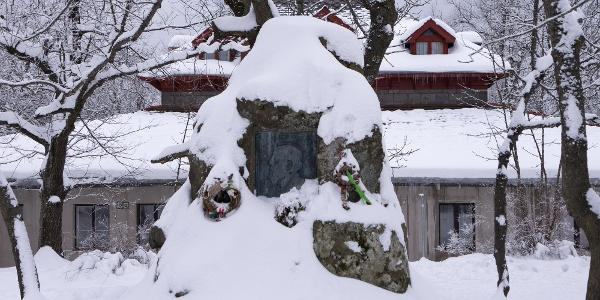 Das Denkmal von Ödön Téry hinter dem Baron Eötvös Loránd Schutzhaus