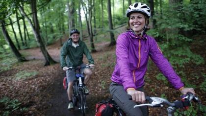 Radurlauber passieren grüne Buchenwälder in der Mecklenburgischen Kleinseenplatte