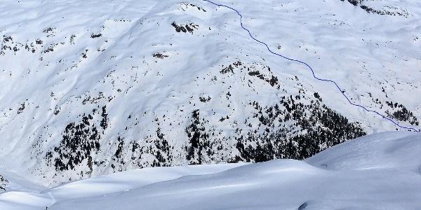 Route oberhalb des Steilwaldes