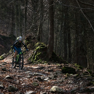 Thomas in action on the descent from Malga Grassi to Campi