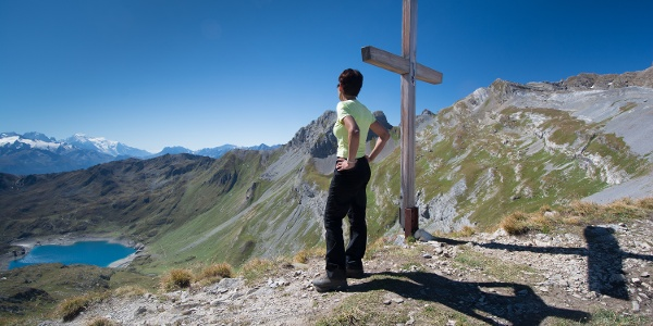 Vue sur le lac de Fully depuis le Col de Fenestral