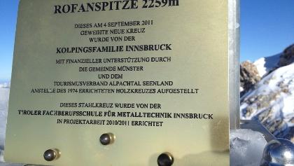 Rofanspitze,Gipfelkreuz,Tafel