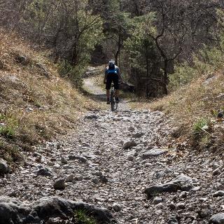 Il fondo del sentiero che scende verso il Lago di Cavedine