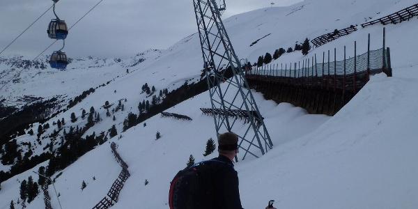 Aufstieg über die Skipiste zum Eingang ins Ferwalltal