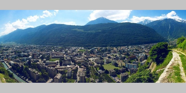 Panoramic view from terraced vineyards trail in Martigny