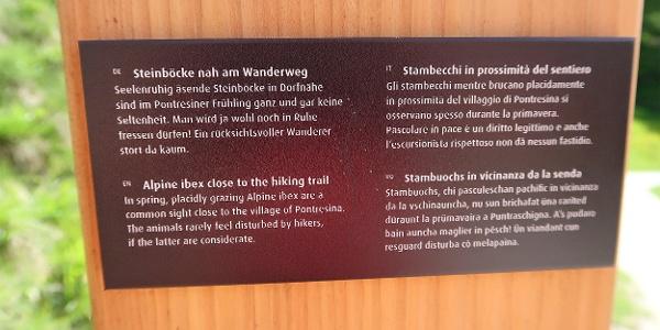 Infos an der Steinbock-Promenade.