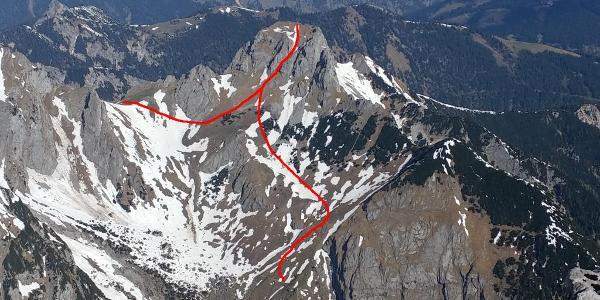 Blick vom Kuhkopf auf den Torkopf mit Route