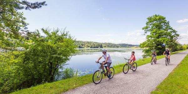 Radfahrfamilie am Rad zwischen Eberndorf und Sittersdorf