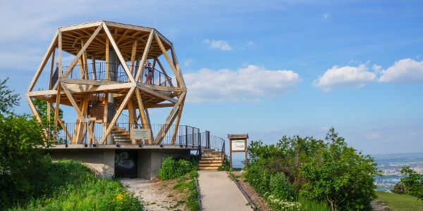 Guckler Károly lookout tower on the top of a former anti-aircraft bunker.