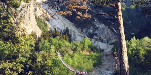 Suspension bridge «Bhutanbrücke» at the Pfyn-Finges natural park.