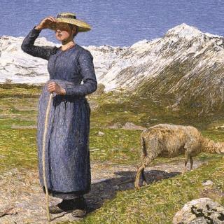 Mezzogiorno sulle Alpi – Mittag in den Alpen, 1891: (77,5 × 71,5 cm, Öl auf Leinwand, Segantini Museum St.Moritz, Depositum der Otto Fischbacher Giovanni Segantini Stiftung).