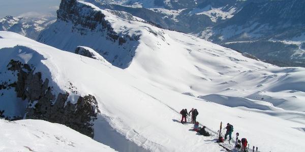 Skitourenläufer auf der Schrattenfluh