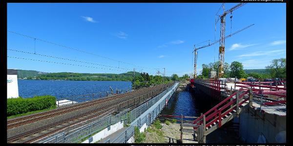 Strassen-, Fußgänger- und Eisenbahnbrücke am Wehr des Harkortsees
