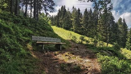 A bench for resting while ascending on trail # 60 to Hochwurzen