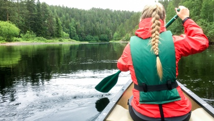 Canoeing in river Oulankajoki, Oulanka National Park