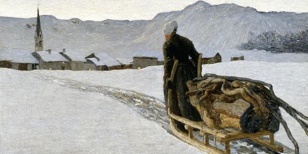 Ritorno dal bosco – Rückkehr vom Wald, 1890: (64 × 95 cm, Öl auf Leinwand, Segantini Museum St.Moritz, Depositum der Otto Fischbacher Giovanni Segantini Stiftung).