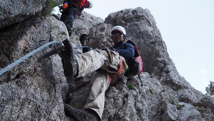 Erstbegehung des neu sanierten Klettersteiges