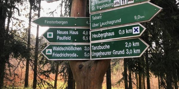 Wegweiser zwischen Heuberghaus und Spiessberghaus
