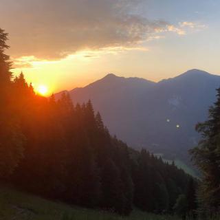 Sonnenaufgang während des Aufstiegs