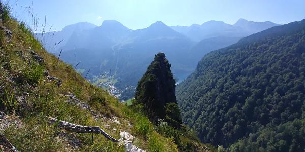 Aussicht vom Grünsteinklettersteig aus auf den Königssee in Richtung SO