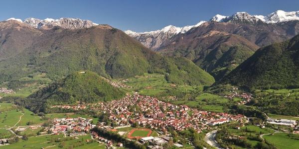 Mt. Kozlov rob and Tolmin viewed from Mt. Bučenica