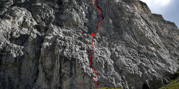 Routenverlauf 1. und 2. Seillänge